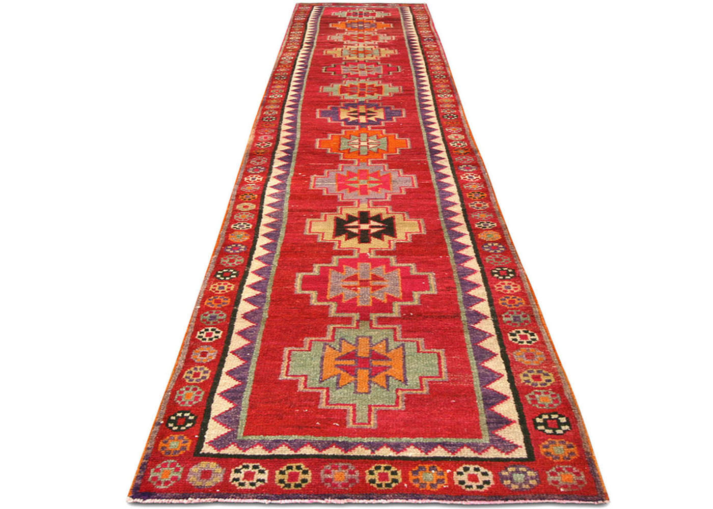 "Vintage Turkish Oushak Runner - 2'10"" x 14'7"""