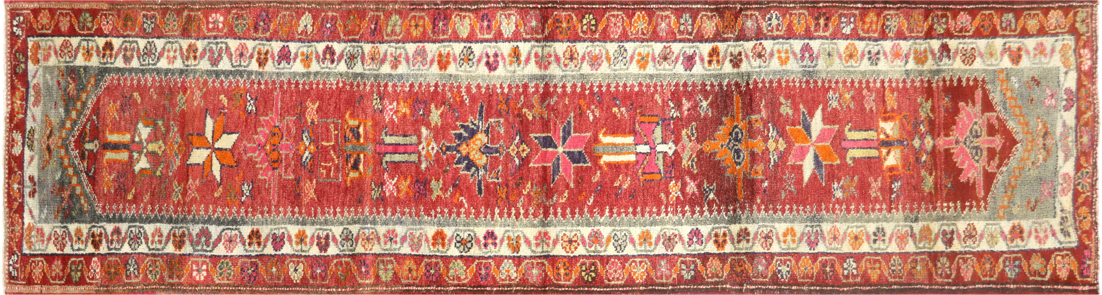Vintage Turkish Oushak Runner - 3' x 11'1""