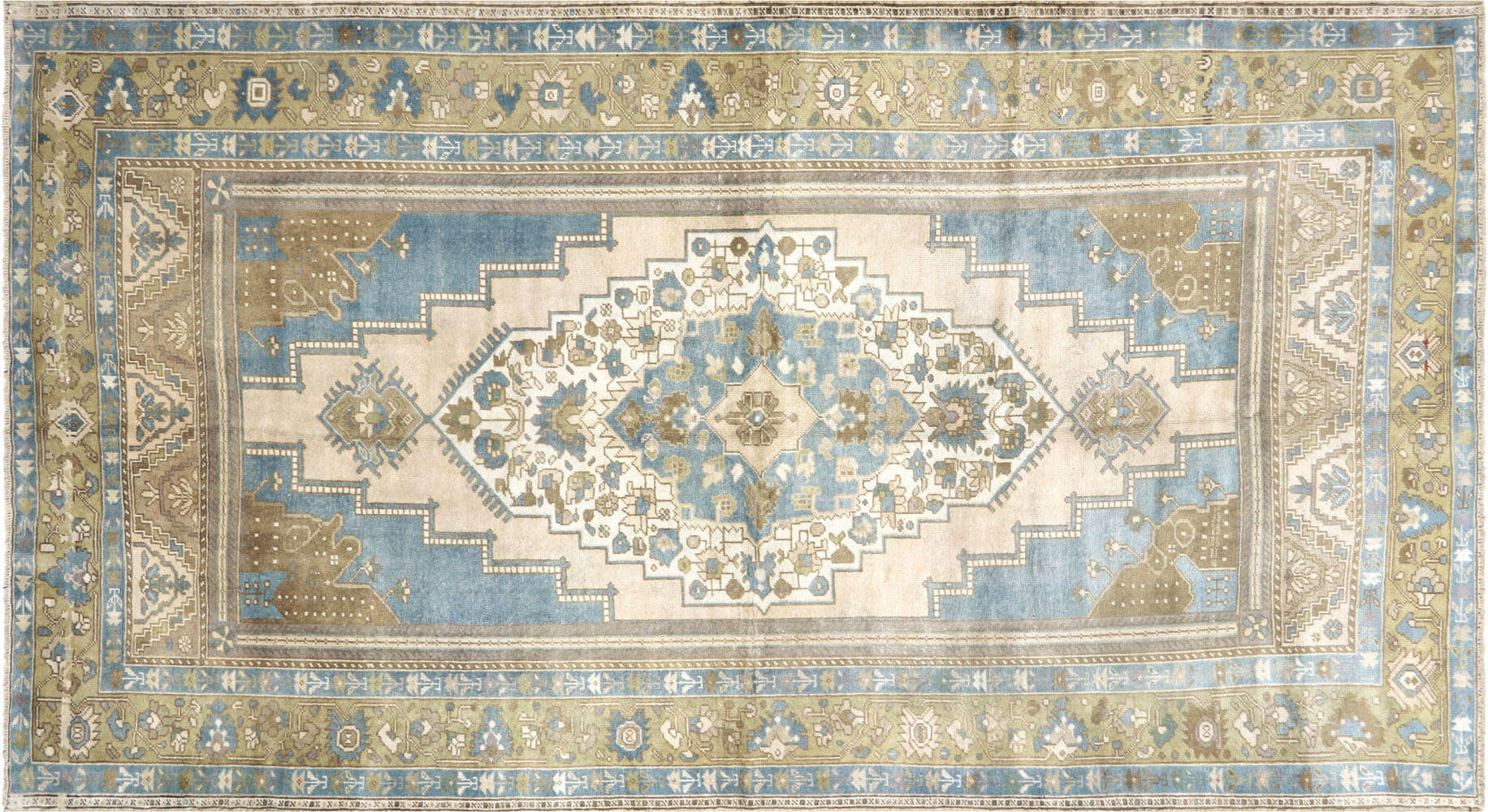 "Vintage Turkish Oushak Carpet - 5'7"" x 10'1"""