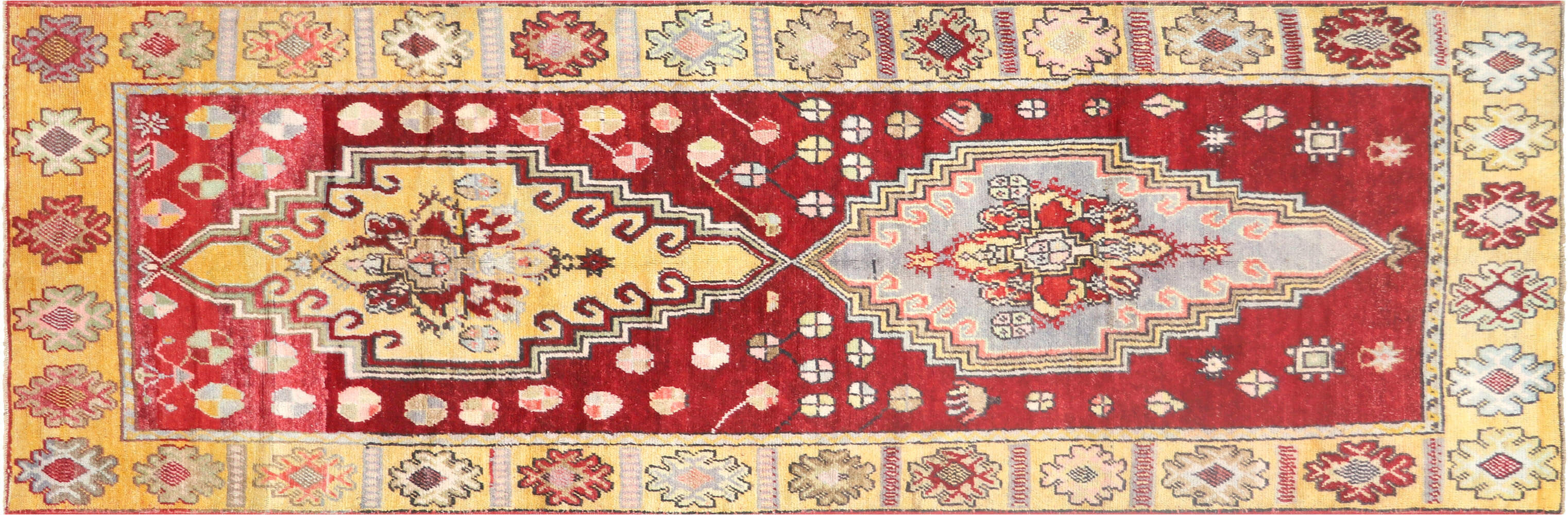 "Vintage Turkish Oushak Runner - 3'6"" x 10'7"""