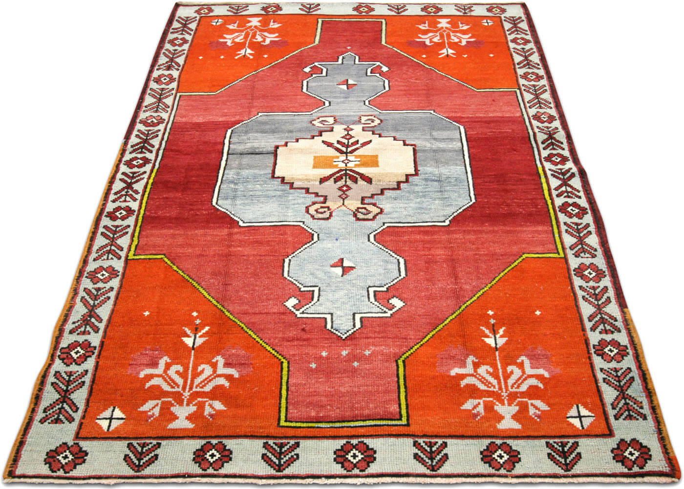 "Vintage Turkish Oushak Rug - 4'2"" x 7'1"""