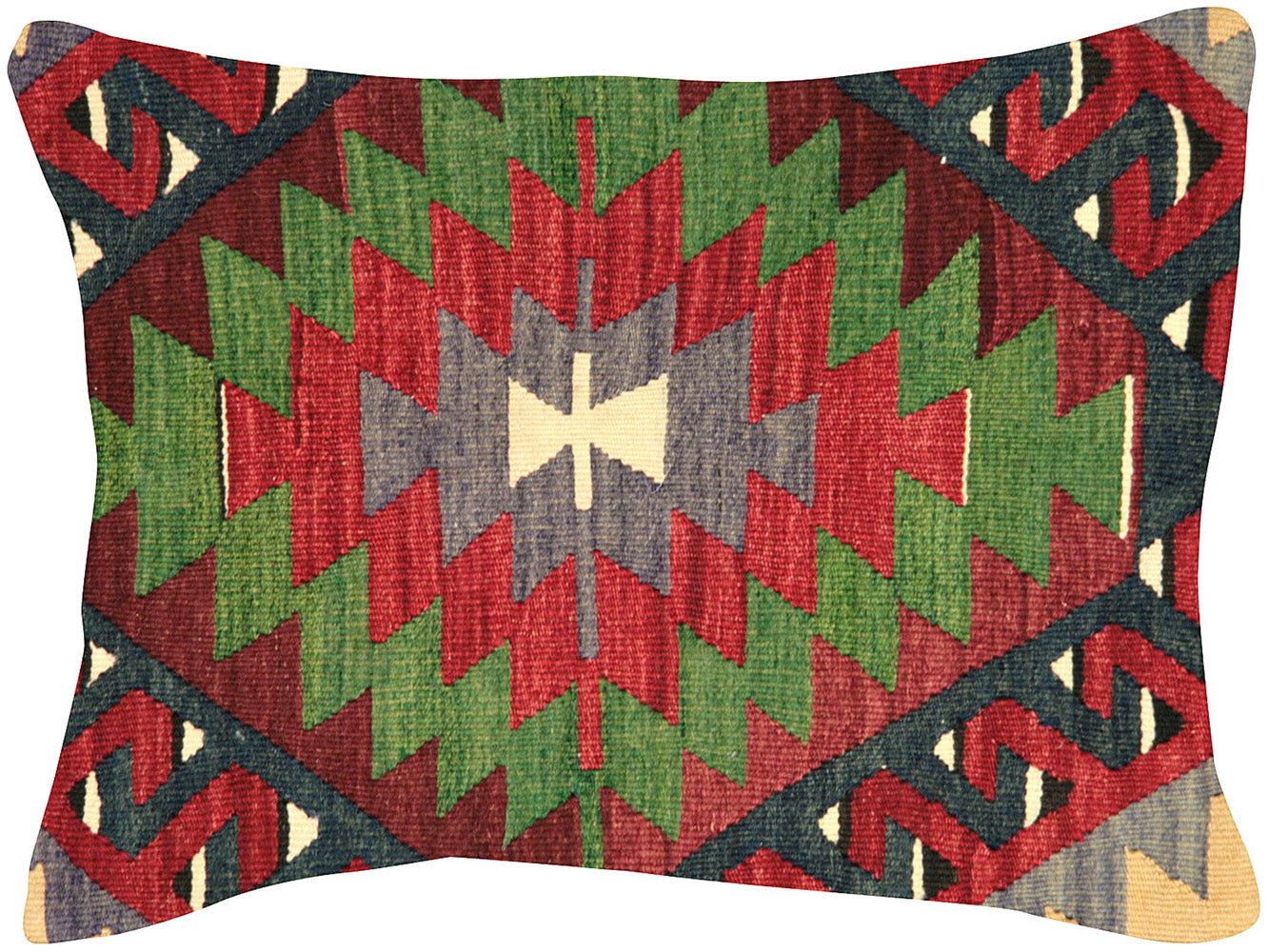 "Vintage Turkish Kilim Pillow - 18"" x 24"""