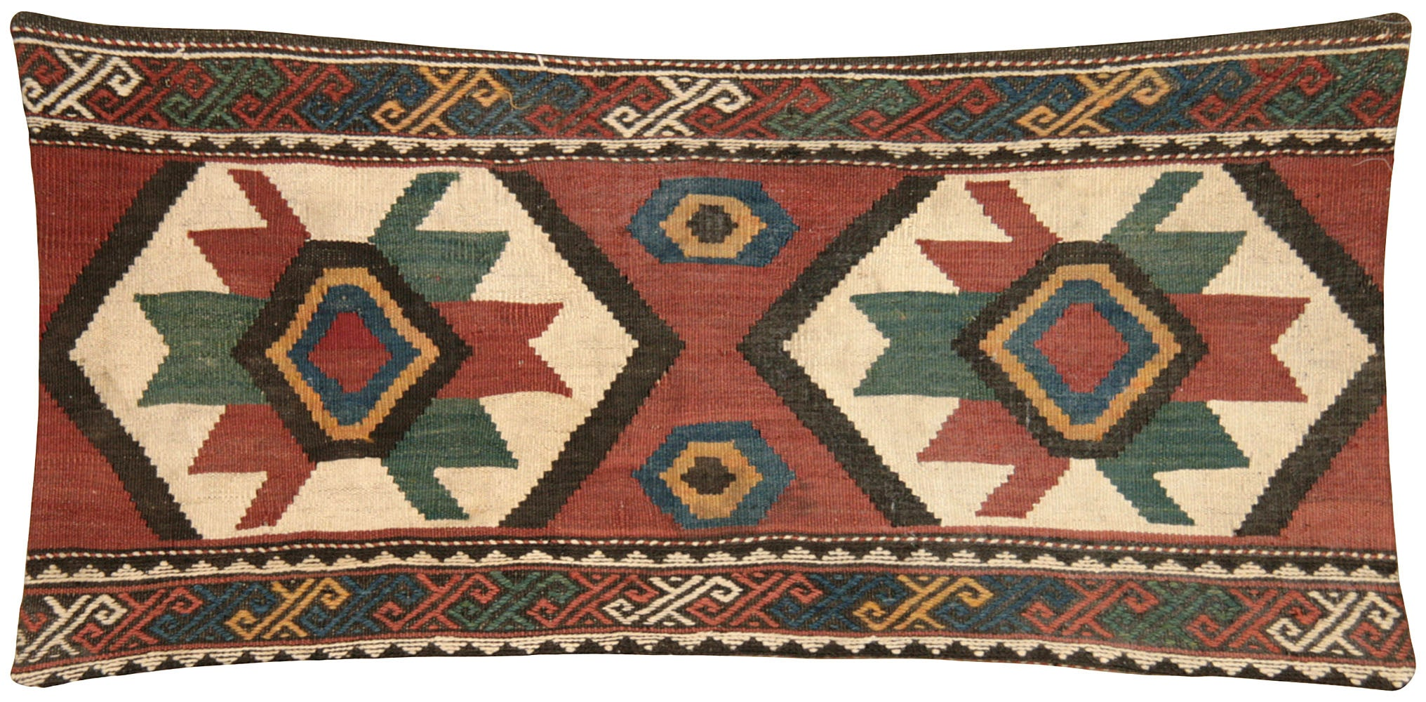 "Vintage Turkish Kilim Pillow - 15"" x 33"""