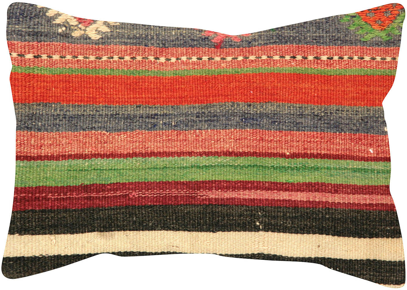 "Vintage Turkish Kilim Pillow - 14"" x 20"""