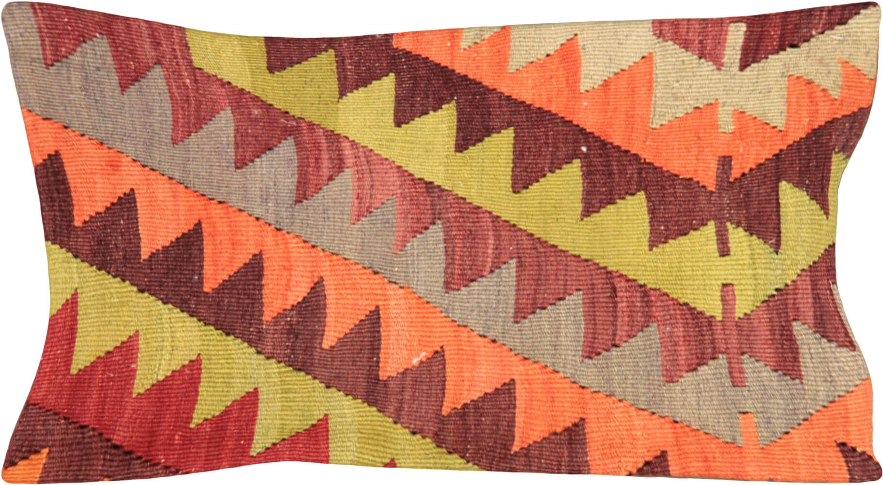 "Vintage Turkish Kilim Pillow - 12"" x 23"""