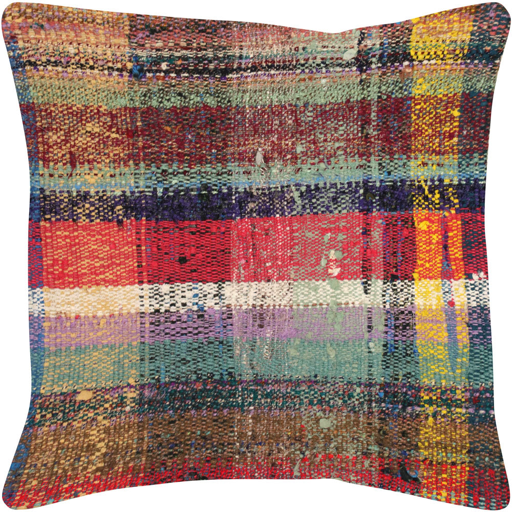 "Vintage Turkish Rag Pillow - 20"" x 20"""