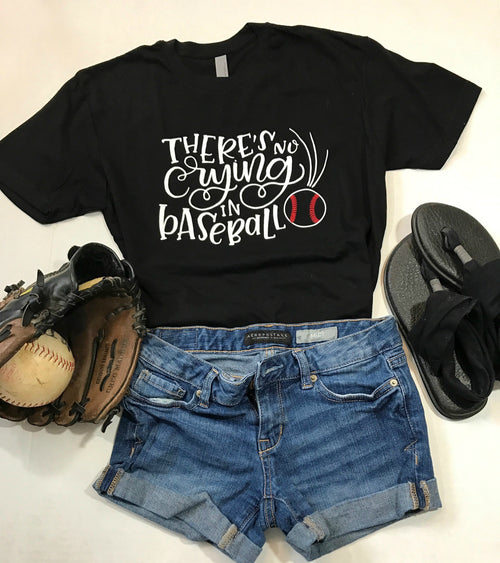 There's No Crying in Baseball Shirt | Black Crew neck tee | Baseball Shirts | Baseball Mom shirt