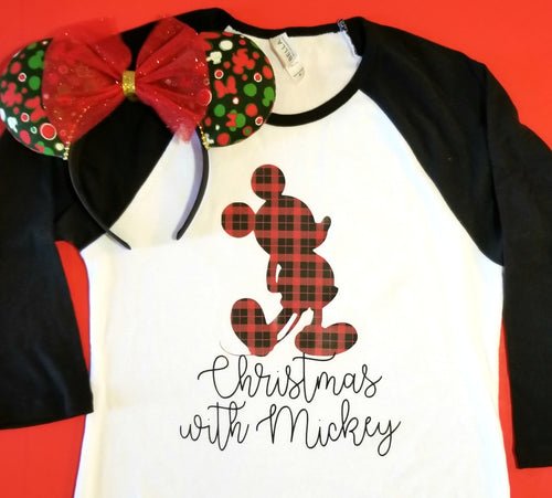 Christmas with Mickey Buffalo Plaid Raglan | Disney Christmas Shirt
