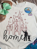 Glitter Disney Castle Home with Walt and Mickey - Long Sleeve or Short Sleeve - Rose Gold