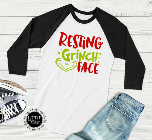 Christmas Shirt -  Resting Grinch Face Shirt Raglan - Women's Christmas Shirt
