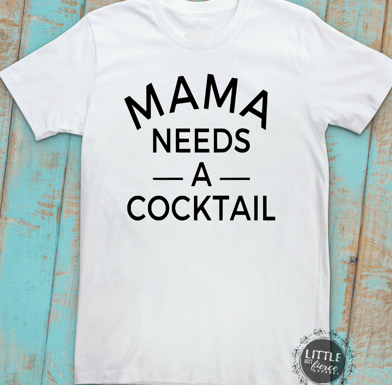 Mama Needs A Cocktail Shirt | White Triblend Unisex Shirt
