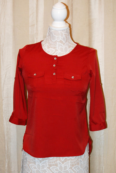 Rust Red Button Top