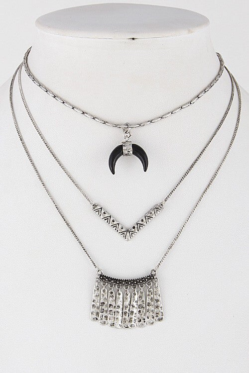 Triple Silver Strand Moon Necklace