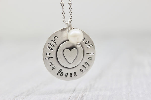 """All of me loves all of you"" Handstamped Sterling Silver Keepsake Necklace"
