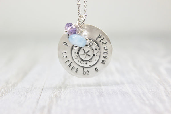 """I'd rather be a mermaid"" hand stamped sterling silver necklace"