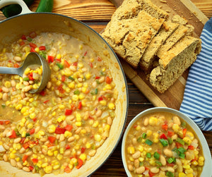 White Bean Chili & Rustic Beer Bread