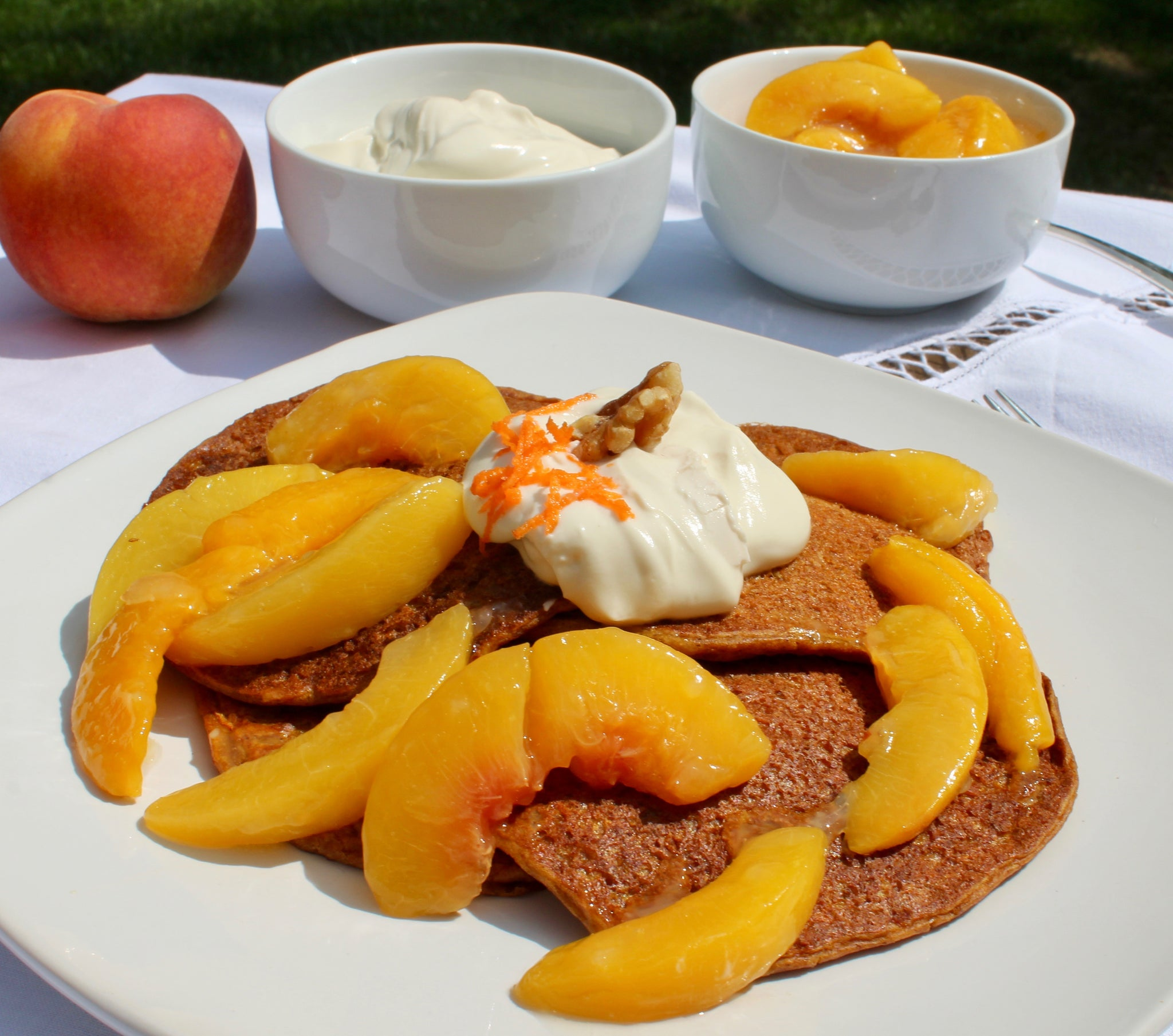 Carrot Cake Pancakes with Peachy Ginger Compote