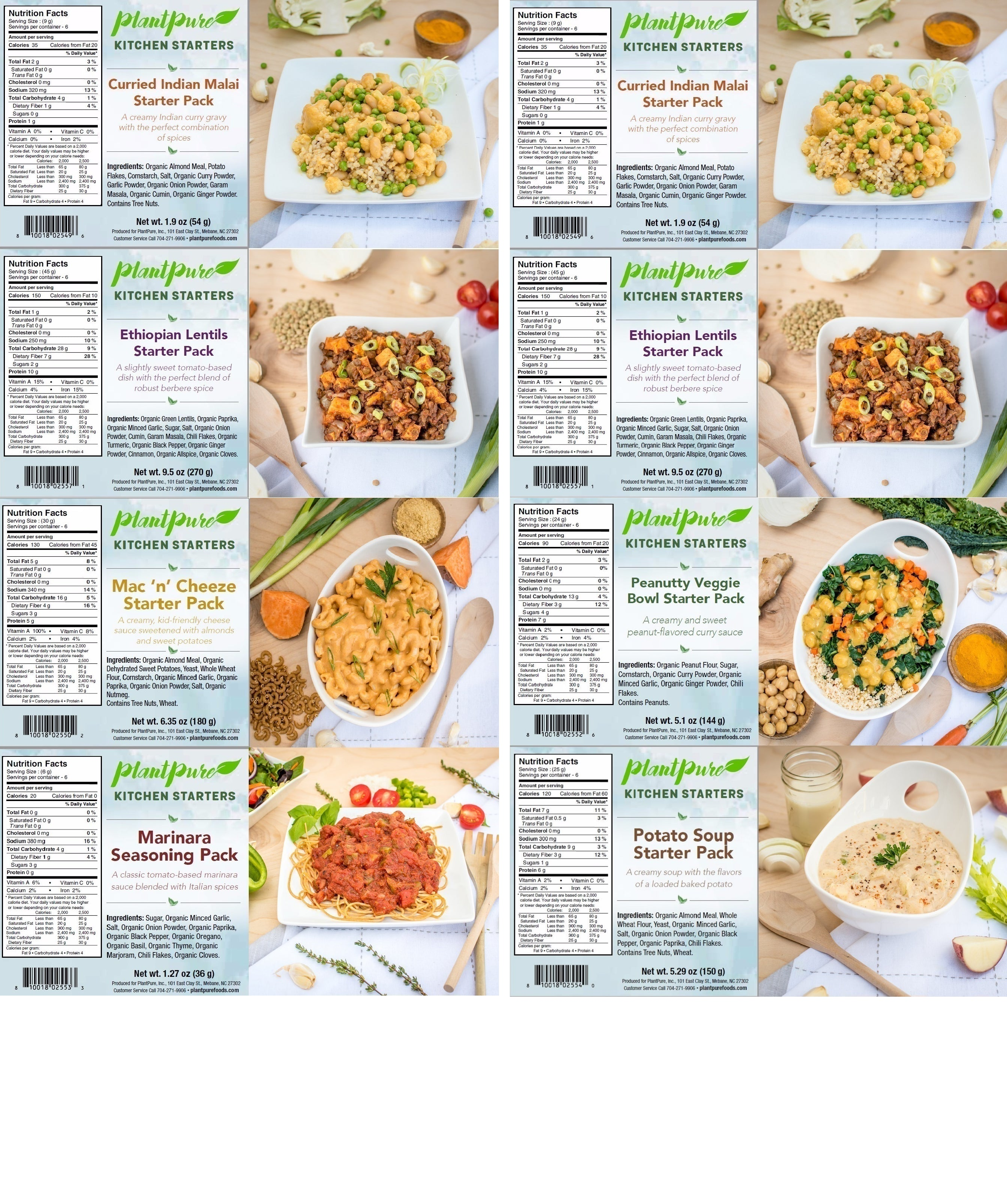 A complete set of Plant-Based Meal Starters & Dressings Mix Packets ...