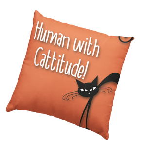 Human with Cattitude Cushion