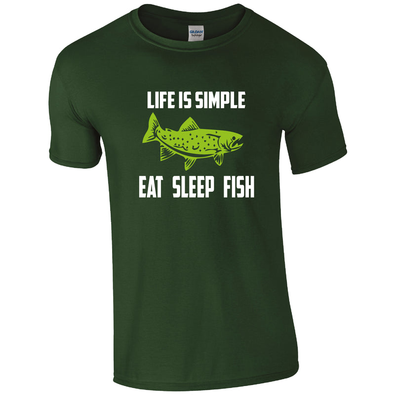 Life is Simple, Eat Sleep Fish, Fishing Humour T-shirt