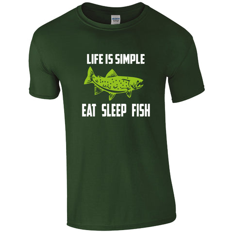 FH008 Life is Simple, Eat, Sleep, Fish T-Shirt