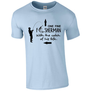 One Fine Fisherman, with the catch of his life.  Fishing Humour T-shirt