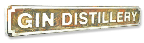Gin Distillery Rust Finish Road Sign