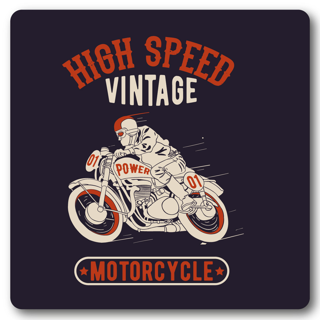 High Speed Vintage Motorcycle Metal Wall Sign