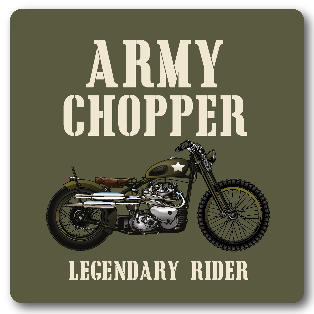 Army Chopper, Motorcycle Metal Wall Sign