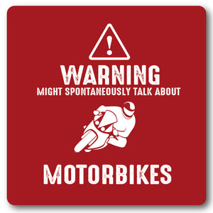 Warning Might Spontaneously Talk About, Motorbikes, Metal Wall Sign