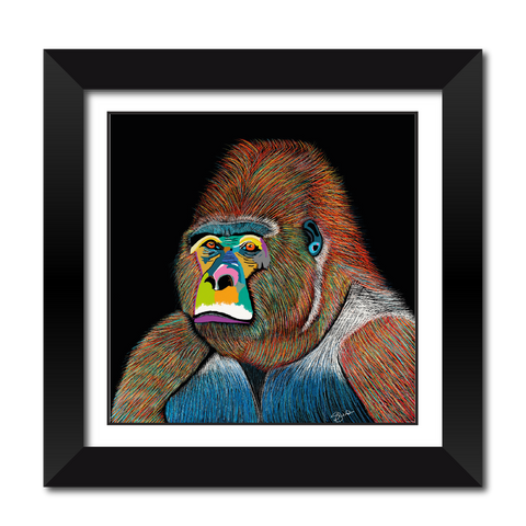 Silver The Gorilla Fine Art Framed Print