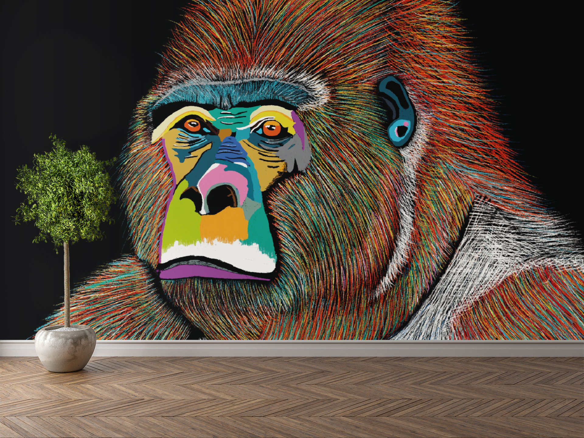 Silver The Gorilla Wall Sticker 3m x 2m