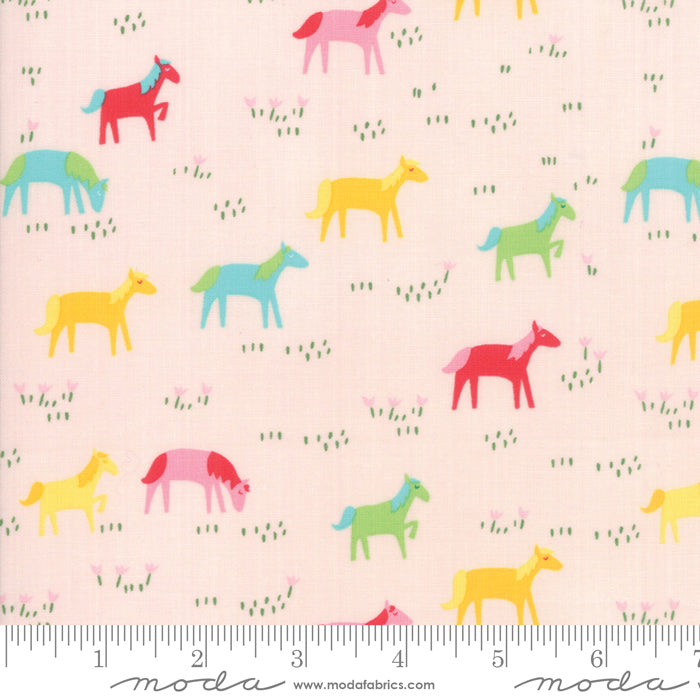 Best Friends Forever - Rainbow Ponies Fabric - Trapunto