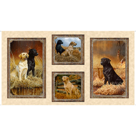 Loyal, Loveable Labs Panel Fabric - Trapunto