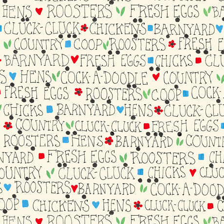 Count Your Chickens - Barnyard Lingo Fabric - Trapunto