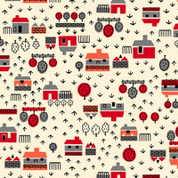 Retro Minis - Houses Fabric - Trapunto edmonton local fabric store shop