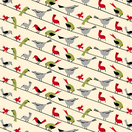 Retro Minis - Birds On a Wire Fabric - Trapunto edmonton local fabric store shop