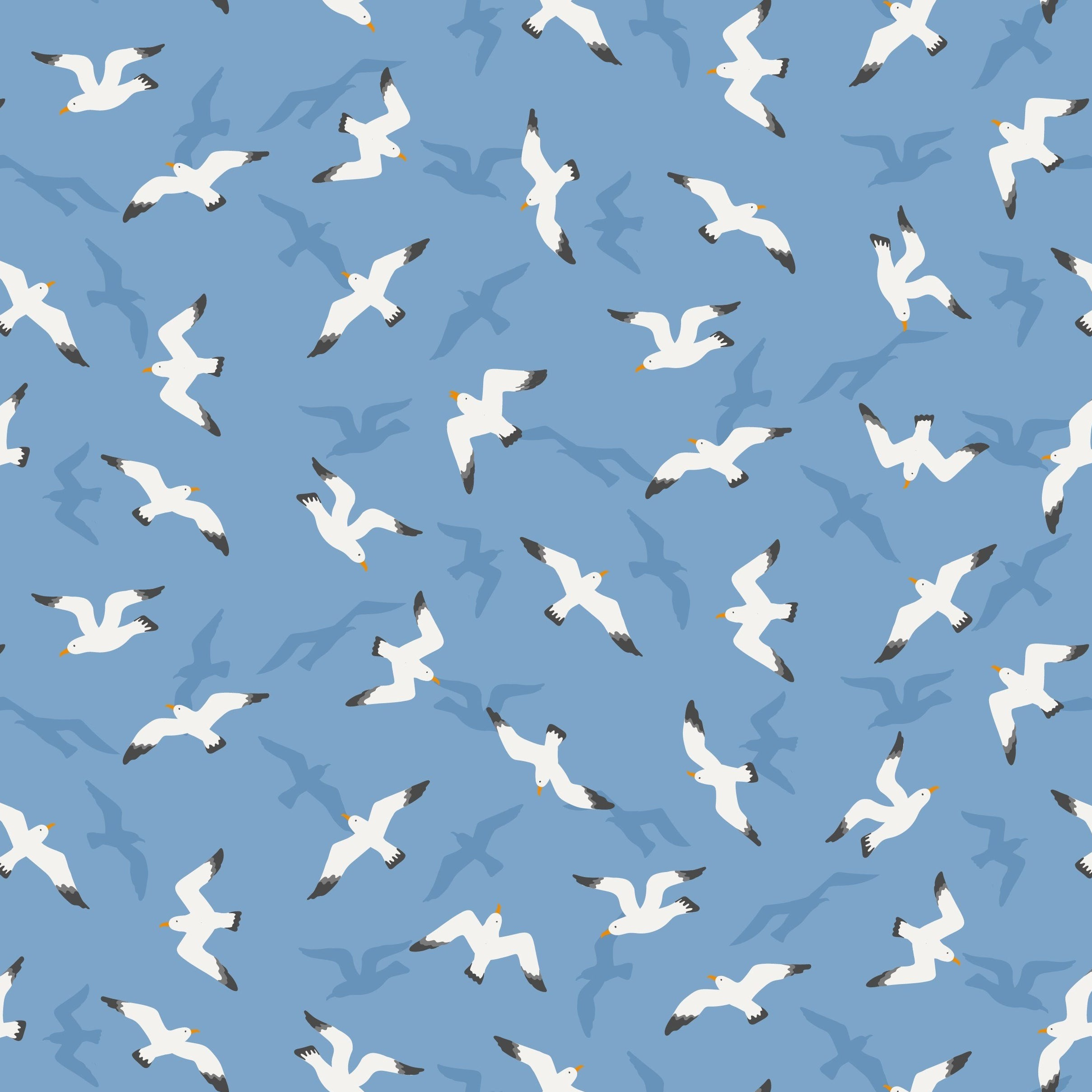 From Old Harry Rocks - Swanage Seagulls Fabric - Trapunto