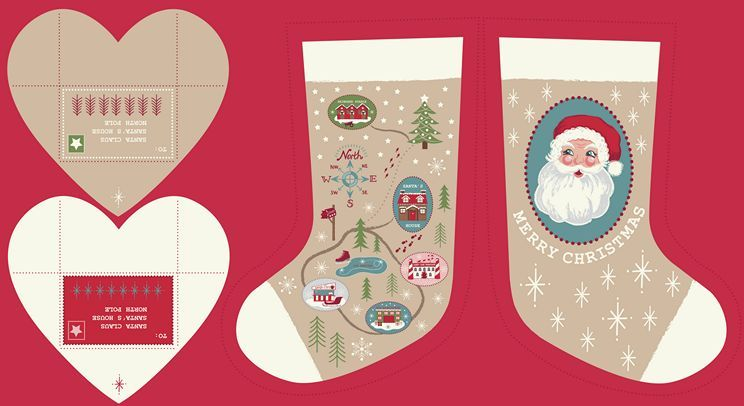 Christmas Panels - North Pole Stockings