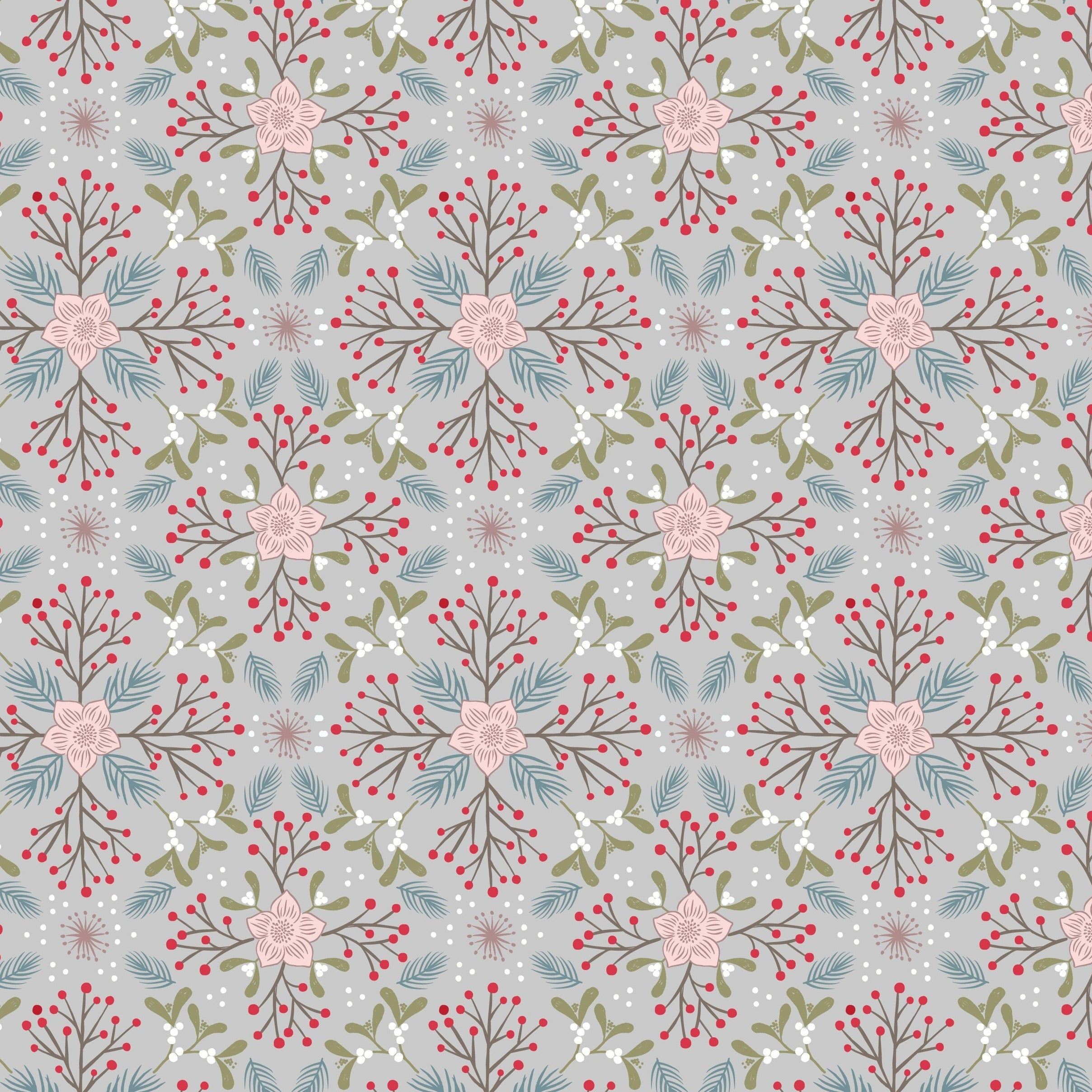 Winter in Bluebell Wood - Winter Floral Fabric - Trapunto