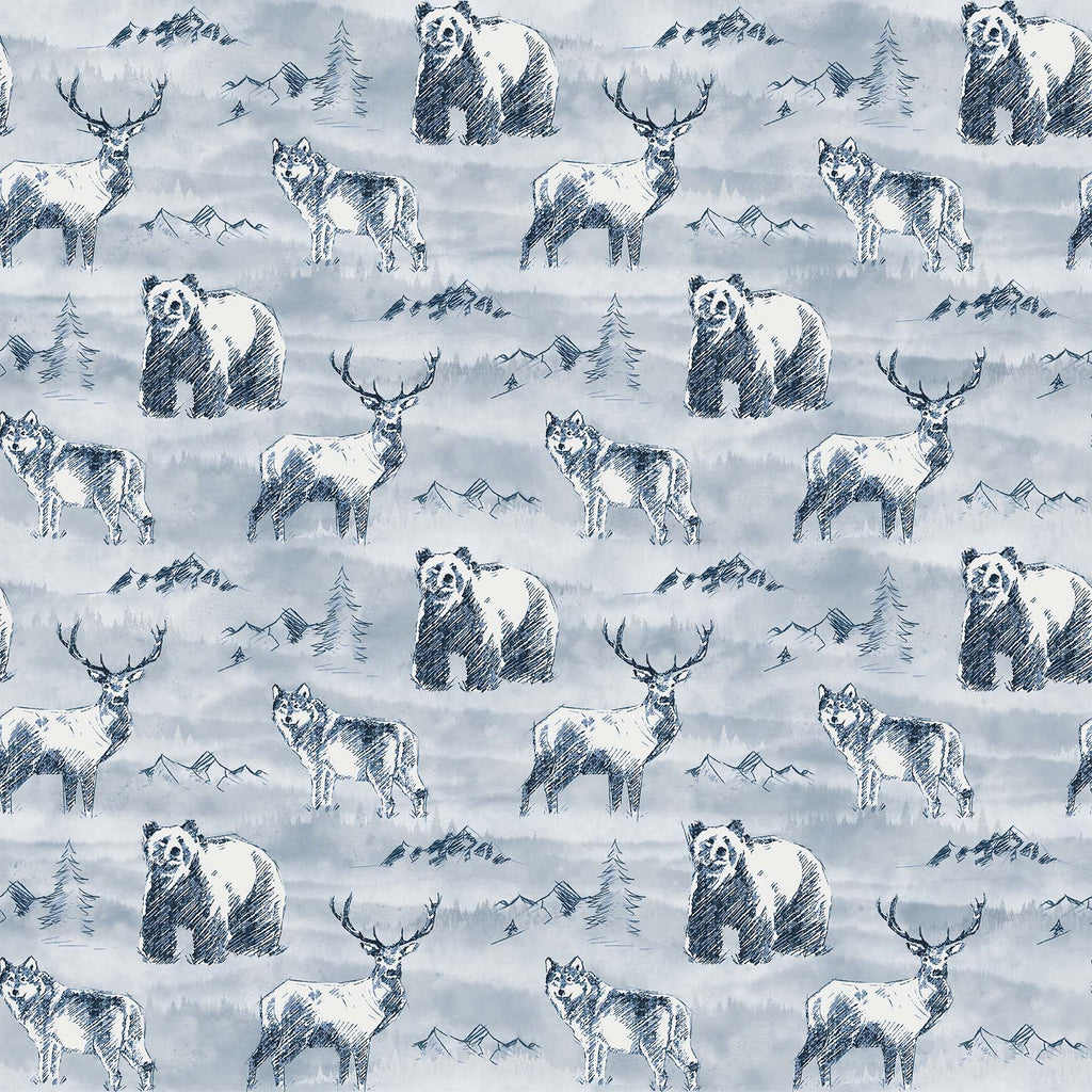 Misty Mountain Flannel - Wildlife Fabric - Trapunto