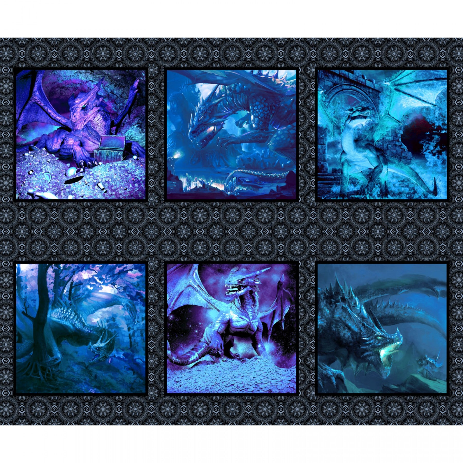 Dragons Blue Fury Panels Fabric - Trapunto