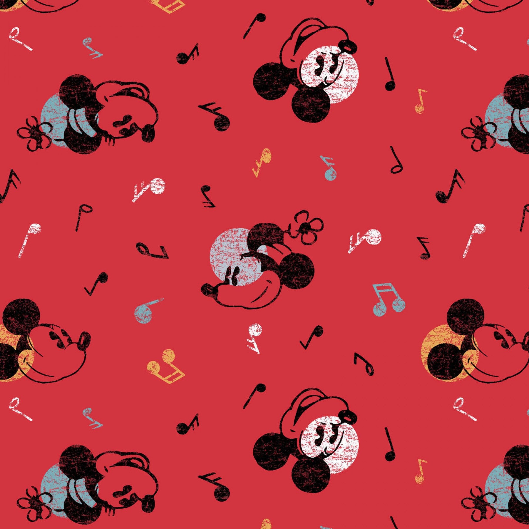 Mickey & Minnie Mouse Fabric - Trapunto
