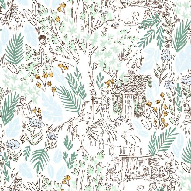 Peter Pan - The Little House Fabric - Trapunto