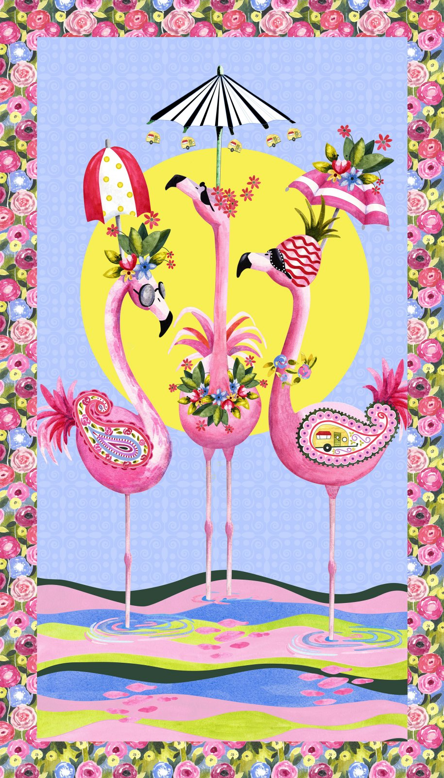 Flamingo Fantastico - Panel Fabric - Trapunto
