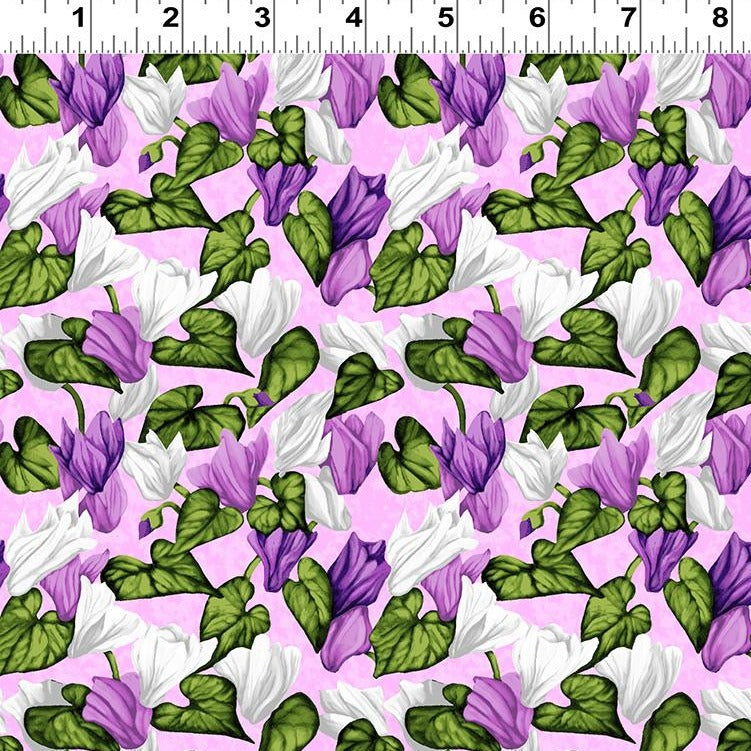 Misty Meadow - Flowers and Leaves Fabric - Trapunto
