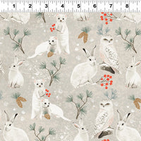 Winter Woodland - Forest Animals Fabric - Trapunto
