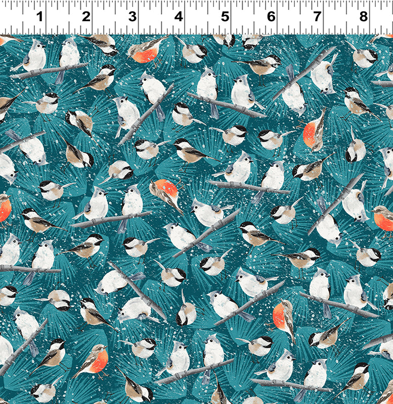Winter Woodland - Chick, Robin & Jay Fabric - Trapunto