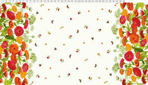 Zinnias in Bloom - Border Fabric - Trapunto