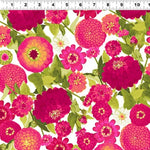 Zinnias in Bloom - Packed Zinnias Fabric - Trapunto edmonton local fabric store shop